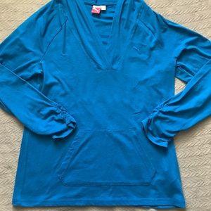Women's Puma Pullover V-neck Shirt with Hood Blue